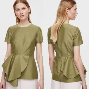 NWT COS Short Sleeve Draped Green Peplum Top 12